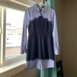 Lace and striped BCBG Dress